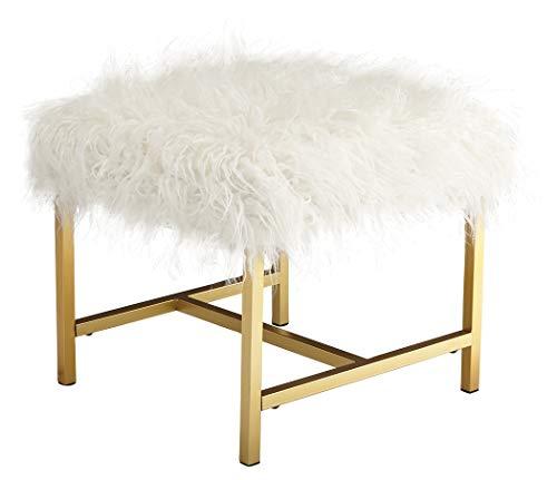 Ashley Furniture Signature Design - Elissa Accent Stool - Contemporary - White Fax Fur - Gold Metal Legs