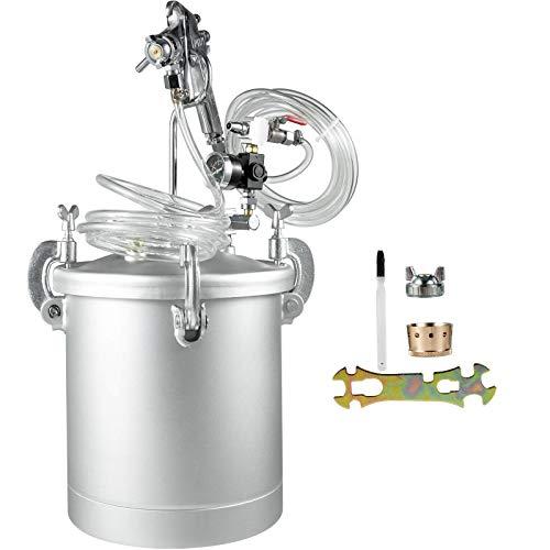 Tanque de pintura a presión de 9,5 litros de pintura a presión máxima de 30 psi, con depósito de pintura a presión de 10 litros y mangueras de aire y fluido, excelente para mantenimiento del h