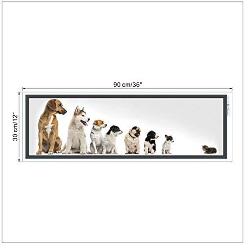 Zhaoyangeng ziet u levendige honden dieren muurschildering wooncultuur woonkamer slaapkamer decoraties canvas waterdichte muurkunst 30X90cm niet-ingelijst