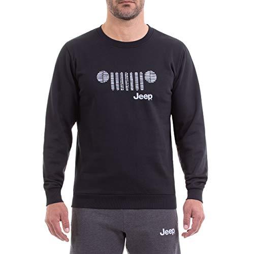 Jeep Girocollo Invernale per con Stampa Griglia Sul Petto E Logo Camiseta, Hombre, Black/Light Grey, L