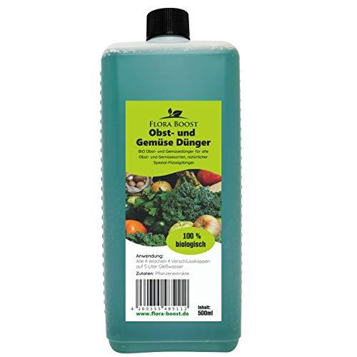 Flora Boost Obstdünger Gemüsedünger Universaldünger 100{a9d095b17aa375cea25a5d8871688b1d2cdcd51fa9bca834aa6b96183c5644f5} Naturprodukt - Für bis zu 100 Liter Gießwasser (500 ml)