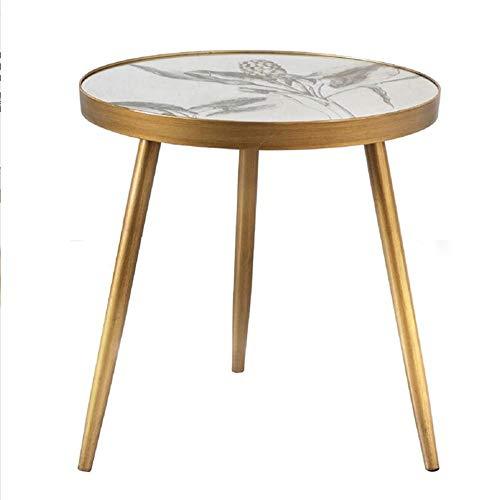 Jcnfa-side table Spray spiegel goud bijzettafel, Ronde salontafel, Afneembare massief hout tafelpoten, Modern - Wit Finish
