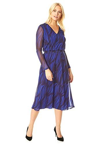 Roman Originals dames midi-jurk met netstof en luipaardprint – dames fit-and-fleecejurk, overdag, kantoor, formele gelegenheden, lange mouwen, V-hals, elastische taille