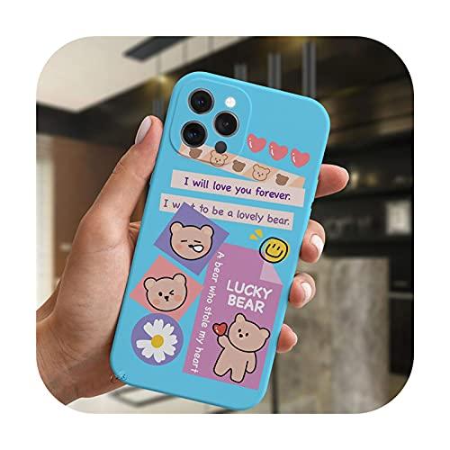 Moda lujo sonrisa oso etiqueta arte teléfono caso para iPhone 11 12 Pro XS Max XR X 7 8 Plus SE 2020 caramelo cubierta suave silicona Coque-BlueMF-C4567-Para 7 Plus 8 Plus