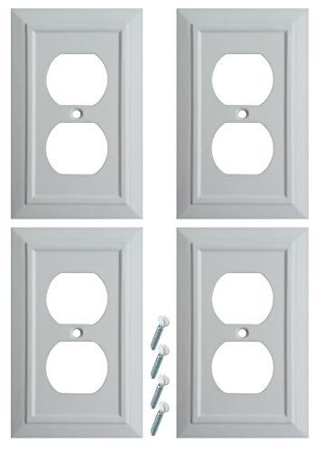Pack of 4 Wall Plate Outlet Switch Covers by SleekLighting | Classic Architecture Wall plates| Variety of Styles: Decorator/Duplex/Toggle/Blank/& Combo | Size: 1 Gang Duplex Receptacle
