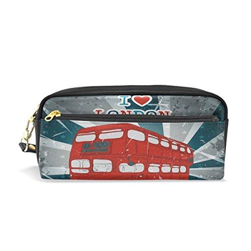 Trousse, Bus de Londres Vintage Imprimé Voyage Maquillage Pouch Grande capacité étanche Cuir 2 compartiments pour filles garçons femmes Hommes