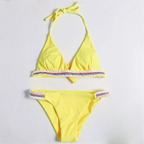Schöner Bikini Badeanzüge 2 Stück for Frauen Bikini Dreieck Binden In Den Rücken Tankini Backless Beach Bäder Pool Brasilianische Kurze Häkelband GCSQF (Color : Yellow, Size : M)