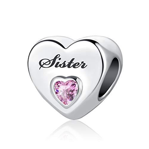 MiniJewelry Sister Love Heart Charm for Bracelets fits Pandora Bracelets Pink Crystal Cubic Zirconia Women Graduation Gift Birthday