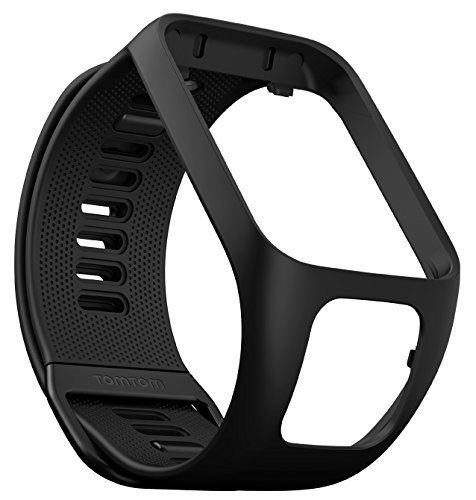 TomTom Wechselarmband für TomTom Spark 3 / Spark / Runner 3 / Runner 2 GPS-Uhren, Schwarz, Größe L