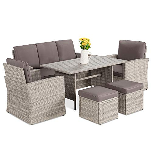 Best Choice Products 7-Seater Conversation Wicker Sofa Dining Table, Outdoor Patio Furniture Set w/Modular 6 Pieces, Cushions, Protective Cover Included - Gray/Gray