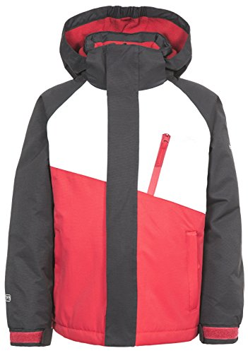 Trespass Crawley, Black/Red, 2/3, Wasserdichter Skianzug mit abnehmbarer Kapuze, Knöchelgamaschen & Knöchelreißverschlüssen für Kinder / Unisex / Mädchen und Jungen, 2-3 Jahre, Schwarz