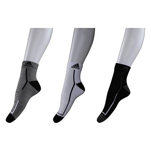 Adidas Men's Poly Cotton Half Cushion High Ankle Socks (Grey Mel/White/Black, Free Size)
