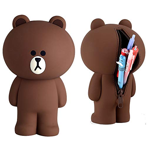 Cute Lovely 3D Brown Bear Pencil Box Silcon Girls Boys Storage Bag Students Stationery Case Gifts