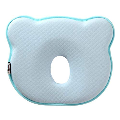 Baby Head Shaping Pillow, Newborn Infant Anti Roll Pillows Neck Prevent Baby Flat Head Pillow Made with Breathable Memory Foam Cotton, Ergonomic Design Baby Gifts (Blue)