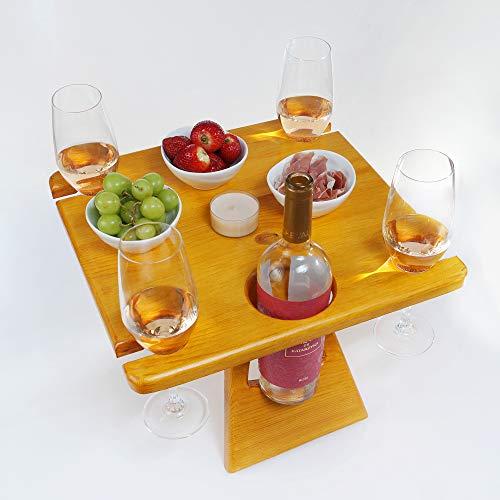 Botellero de madera para picnic, mesa de picnic, para cuatro personas, con cómoda maleta, idea de regalo para vino, amantes del vino, mesa de camping, mesa de exterior, camping, excursionistas,