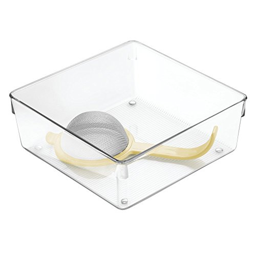 InterDesign Linus Kitchen Drawer Organizer for Silverware Spatulas Gadgets - 8 x 8 x 3 Clear