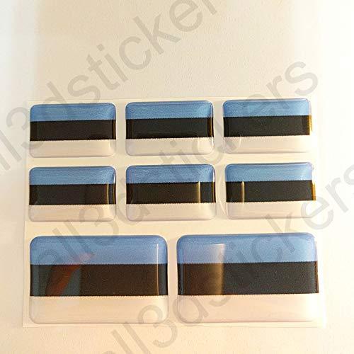 All3DStickers Aufkleber Estland Flagge 8 x Flaggen von Estland Rechteckig 3D Kfz-Aufkleber Gedomt Fahne