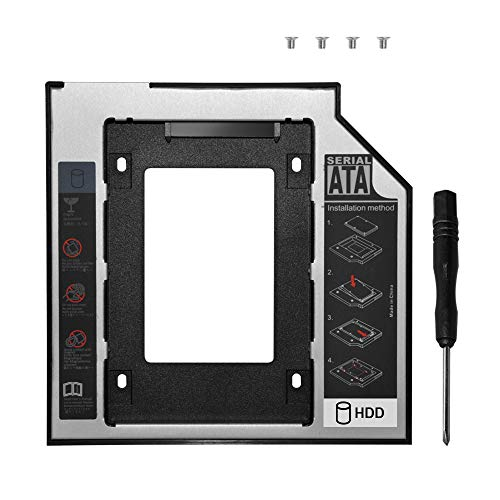 DEEPFOX Hard Drive Caddy Tray Universal SATA 2nd HDD Enclosure Hard DiskMounting Bracket for HP DELL ACER BenQ Asus Lenovo Laptop CD/DVD-ROM Optical Bay Drive Slot (for SSD and HDD) (9.5mm Caddy)