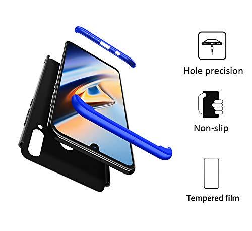 FMPC Hülle Kompatibel mit Huawei Nova 4, 3 in 1 PC Schale Full-Cover Anti-Kratzer 360° Ultra dünn R&umschutz-Schale mit Gratis 3D Panzerglas Handyhülle Schutzhülle Case-Blau Schwarz