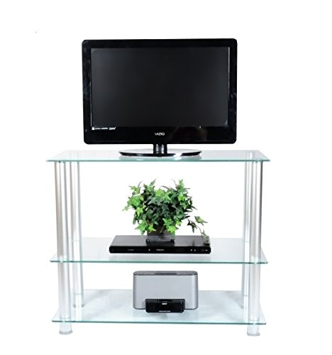 RTA Home and Office Extra Tall Glass and Aluminum LCD and Plasma TV Stand for a 35' TV