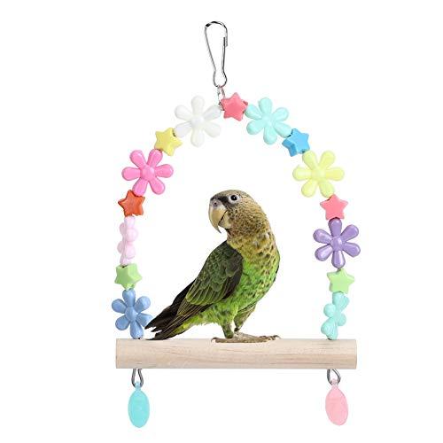 Pssopp Vogelschaukeln Spielzeug Bunte Papagei Schaukel Schneeflocken Muster Vogel Stehspielzeug Hängender Vogelkäfig Dekoration Spielzeug für Nymphensittiche Sittiche
