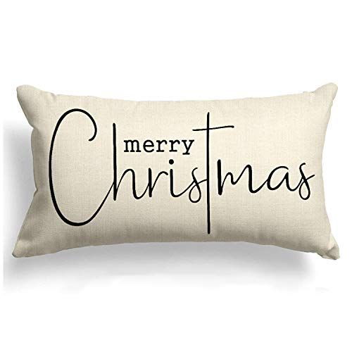 Allorry Christmas Pillow Covers Merry Christmas Throw Pillow Decorative Beige Cotton Cloth Linen Cloth Pillow Cover Sofa Cover Decorative Rectangle Length 12X20 inches
