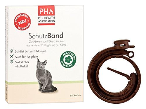 PHA Katze, Abwehr gegen Flöhe und Zecken, Schutzband mit Sollbruchstelle, Frei von Fipronil, Für alle Katzengrößen, 1 x 35 cm