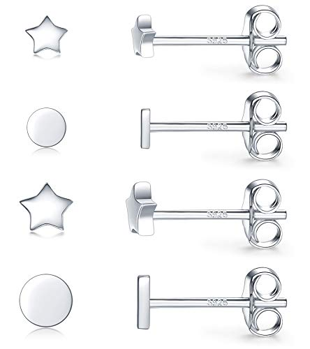 4 Pairs Small Silver Stud Earrings for Men & Women- Hypoallergenic Minimalist White Gold Plated Tiny Round & Star Cartilage Earrings(3mm/4mm)