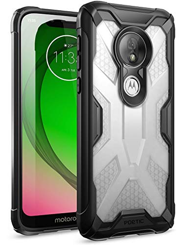Moto G7 Play Case, Moto G7 Optimo Case, Poetic Hybrid Protective Clear Bumper Cover, Rugged Lightweight, Military Grade Drop Tested, Affinity, DO NOT FIT Moto G7 Or Moto G7 Power, Frost Clear/Black
