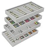Bandejas de almacenamiento de joyas, juego de 4 bandejas de joyería de...