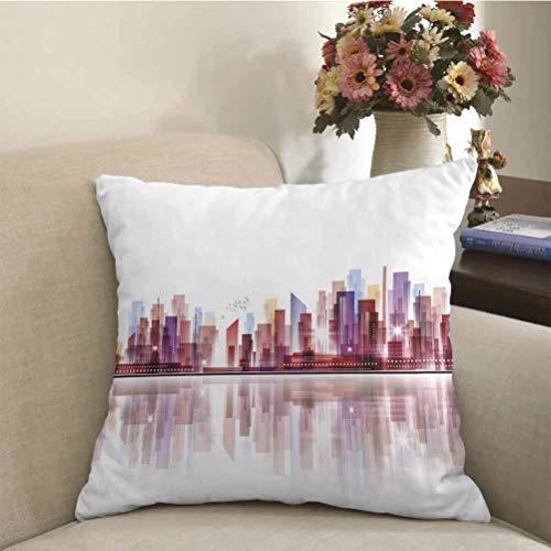 City Decorative Pillow Covers Landscape Modern Skyscrapers Metropolitan Silhouette Illustration Abstract Composition Decorative Pillowcases Multicolor for Car/Sofa/Home Decoration   18 x 18 inch