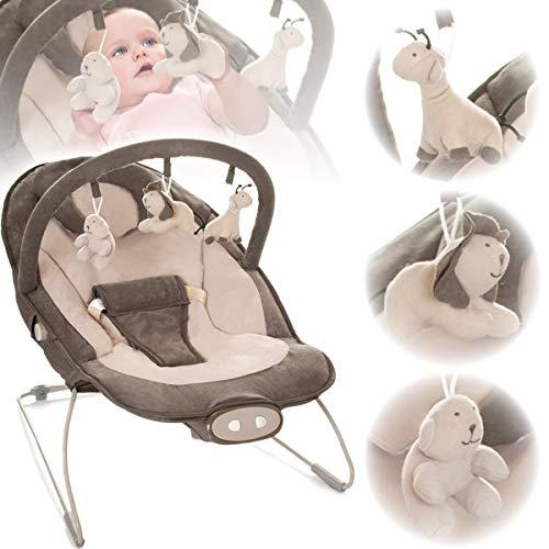 Babywippe/Babywiege/Babyschaukel (Inklusive Spielbogen mit 3 Figuren) + Vibrationsfunktion & Musikfunktion (12 Melodien) (BRAUN/BEIGE)