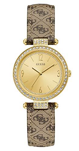 Guess Damen Analog Quarz Uhr mit Leder Armband W1230L2