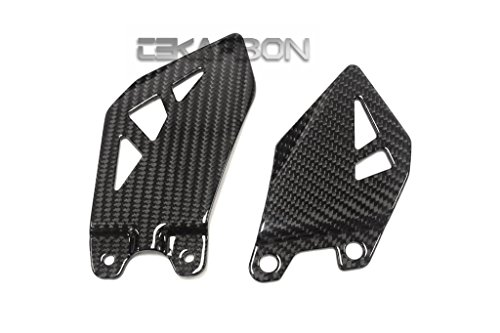 Tekarbon, Replacement for Heel Plates, Kawasaki ZX10R (2011-2020), Carbon Fiber, 2x2 Twill Weave