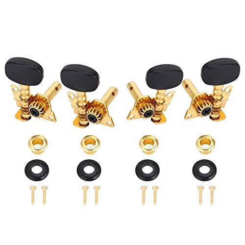Dilwe Ukelele Tuning Peg, 2L2R Botón Negro Cuerpo de Oro Estilo Clasico Ukelele Clavijas Cabezas de Maquinas para Ukelele DIY Partes