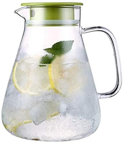 Tetera El jarro de agua Tetera de cristal con la tapa de la jarra con hielo y la manija de borosilicato resistente al calor jarra de cristal de té / caliente y agua fría / hielo vino de café de leche