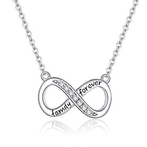 QSSQ Collar De Cadena Corta De La Familia del Amor Infinito para Las Mujeres Clear 925 Sterling Silver Jewelry