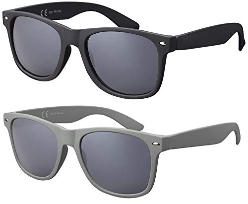 La Optica Original UV400 CAT 3 Unisex Sonnenbrille Nerd - Doppelpack Rubber (1 x Grau, 1 x Stealth Grey)