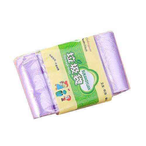 HoSayLike Bolsas De Basura Desechables 5 Rollos Coloreado para El BañO del Hogar La Cocina Dormitorio Aseo Oficina Biodegradable Sacos De Basura45X50Cm (Morado)