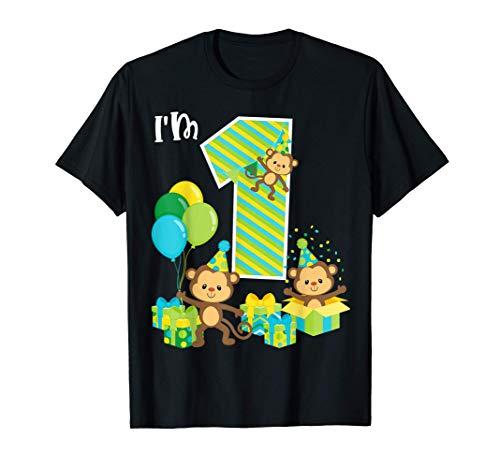 Birthday Monkey 1st Birthday Party One Year Old Kid Toddler Camiseta