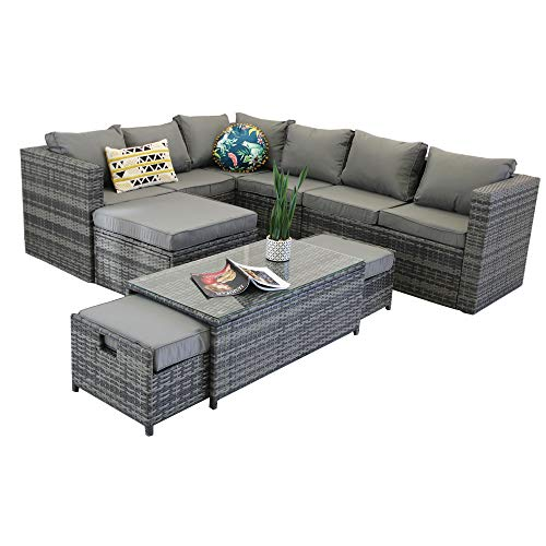 YAKOE V9TCS1R-NOMR20 Vancouver 9 Seater Corner Rattan Garden Set in Grey with Fitting Cover