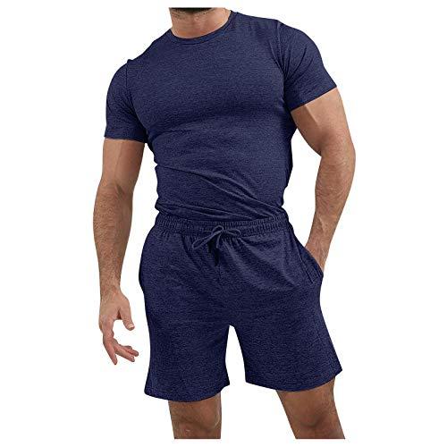 Camicie Pantaloncini Pantaloni Set Uomo Estate 2 Pezzi Beach Manica Corta ( L,Marina Militare )