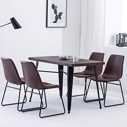 Simhoo Esszimmerstühle 4er Set Retro Esstisch stühle Küchenstühle Polsterstuhl Vintage Design Leder Esszimmer Stuhl Braun mit Gestell aus Metall
