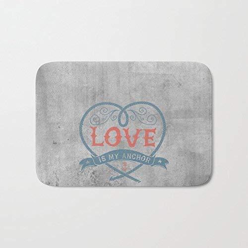 Felpudo con texto en inglés 'Love Is My Anchor On Grey Abstract Background', poliéster, felpudo de bienvenida, para el hogar, interior, entrada, cocina, patio, entrada, baño, 60 x 40 cm