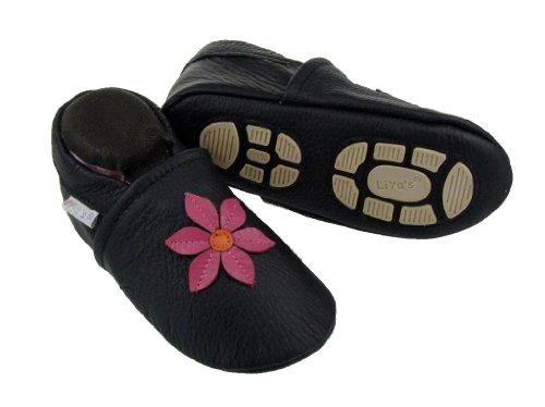 Liya's Babyschuhe Hausschuhe Exclusiv mit Gummisohle - #694 Pinkblume in schwarz - Gr. 19/20
