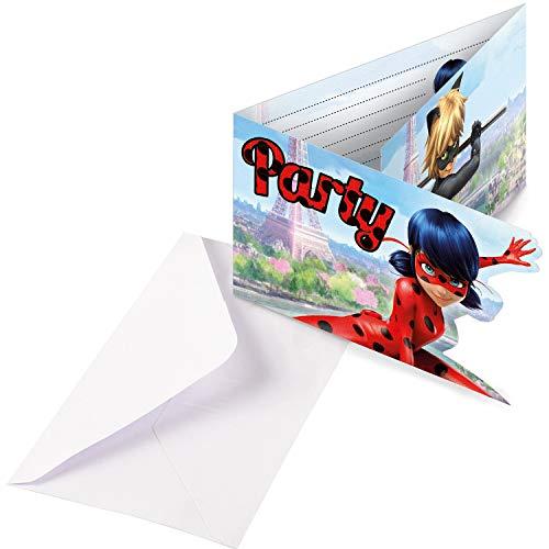 NET TOYS 8 Miraculous Party Einladungskarten mit Umschlägen 8 x 14 cm - Originelle Kinder-Partydeko Ladybug Einladungskartenset - Genau richtig für Kinderfest & Kindergeburtstag