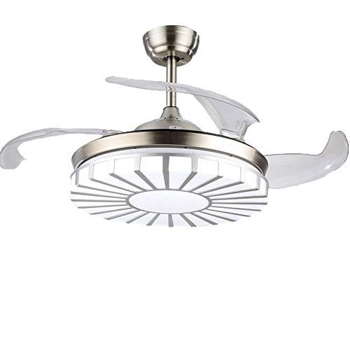 Aohuada Modern Invisible Ventiladores de techo Lámpara LED de 42 '' iluminación tricolor ajustable y luz de ventilador de techo de tres etapas, lámpara de dormitorio de salón adecuada (tiras)