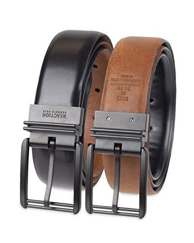 Kenneth Cole REACTION Men's U-Turn Reversible Leather Belt,Black/Brown,38