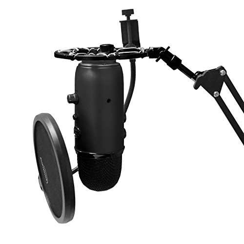 Auphonix Black Shock Mount Compatible with Blue Yeti Mic