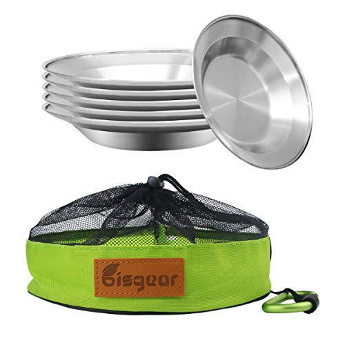 Camping Stainless Steel 8.5 inch Kitchen Dinner Plate Pack of 6 + Carabiner + Dishcloth Mess kit - Bisgear Outdoor Dinnerware Set BPA Free Round Plates for Backpacking, Hiking, Picnic & BBQ (8.5 inch)